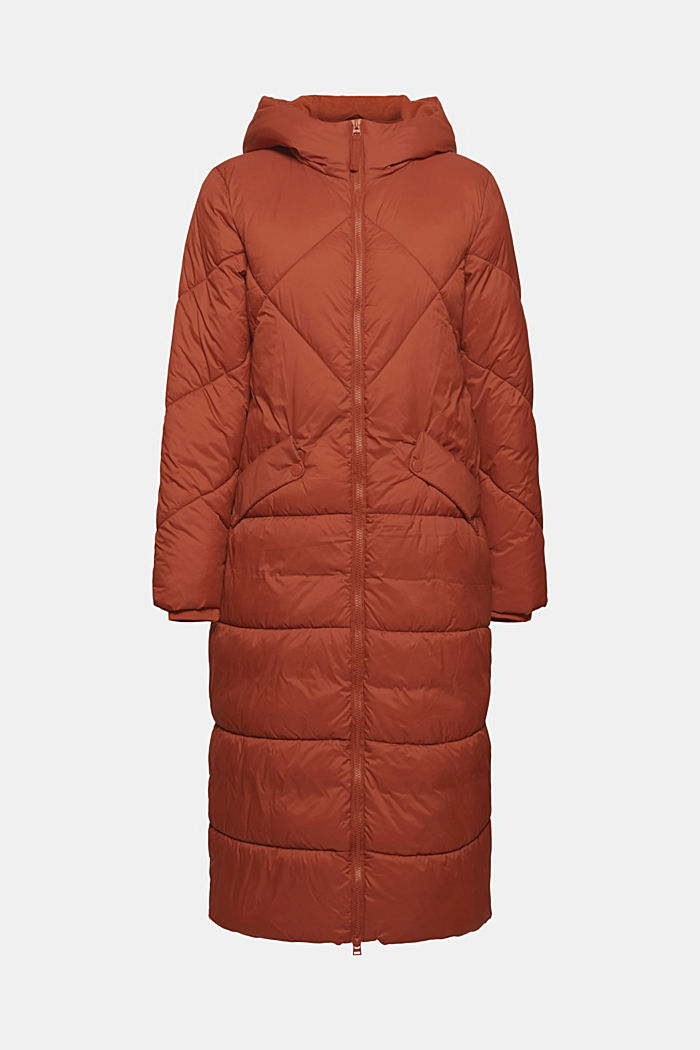 En matière recyclée: manteau matelassé à capuche