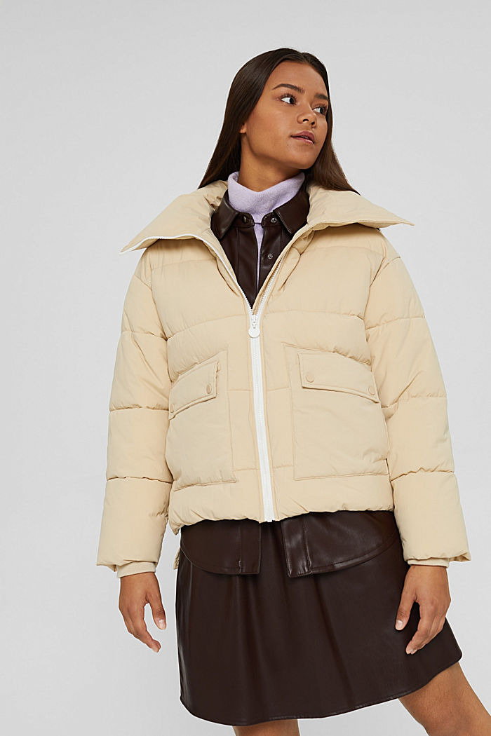 Recycelt: Steppjacke mit Boxy-Fit, BEIGE, detail image number 0
