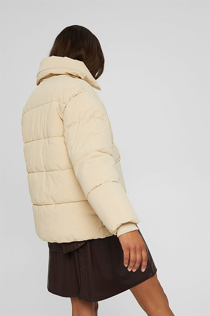 Recycelt: Steppjacke mit Boxy-Fit, BEIGE, detail image number 3