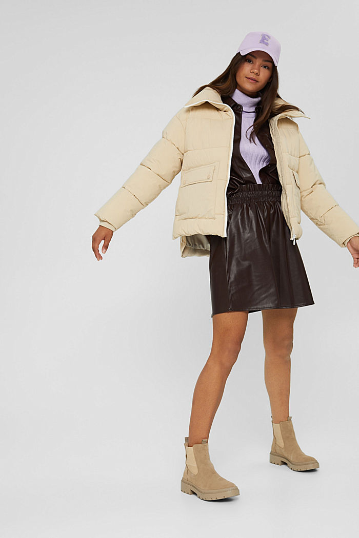 Recycelt: Steppjacke mit Boxy-Fit, BEIGE, detail image number 1