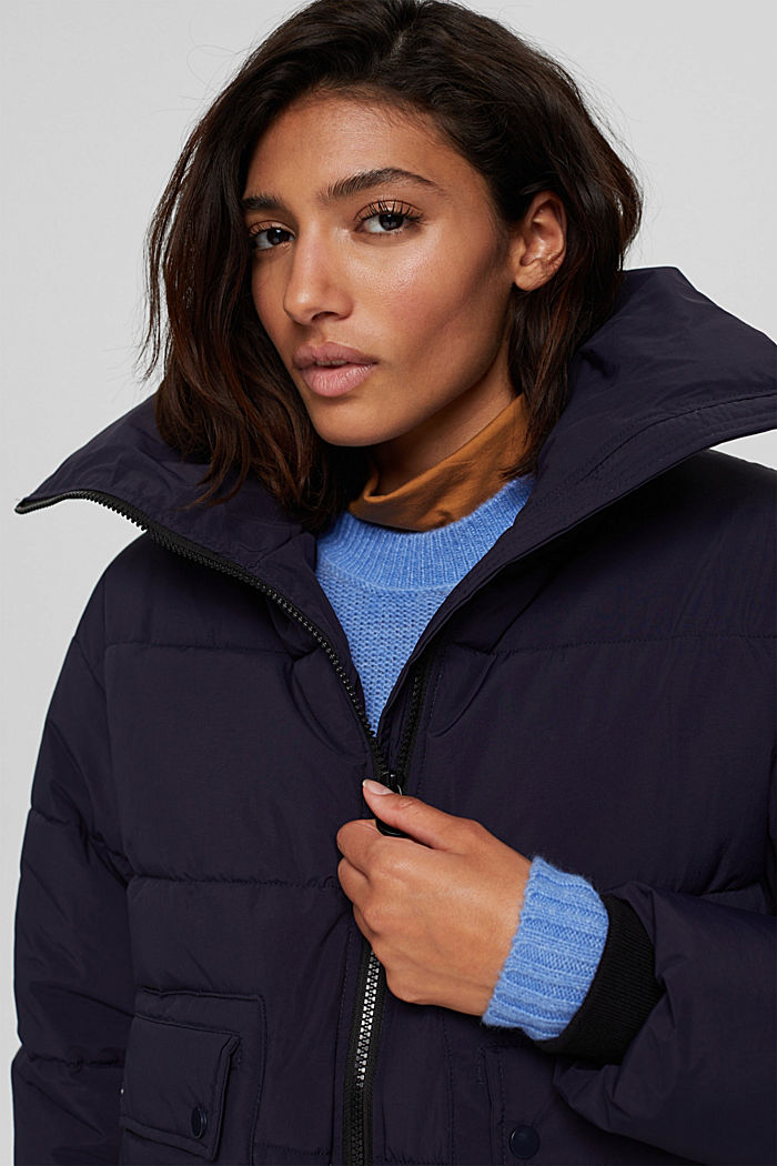 Recycelt: Steppjacke mit Boxy-Fit, NAVY, detail image number 5