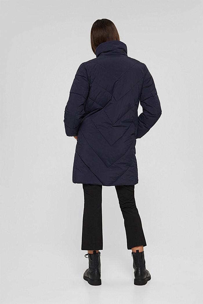 En matière recyclée: le manteau matelassé zippé à la base, NAVY, detail image number 3