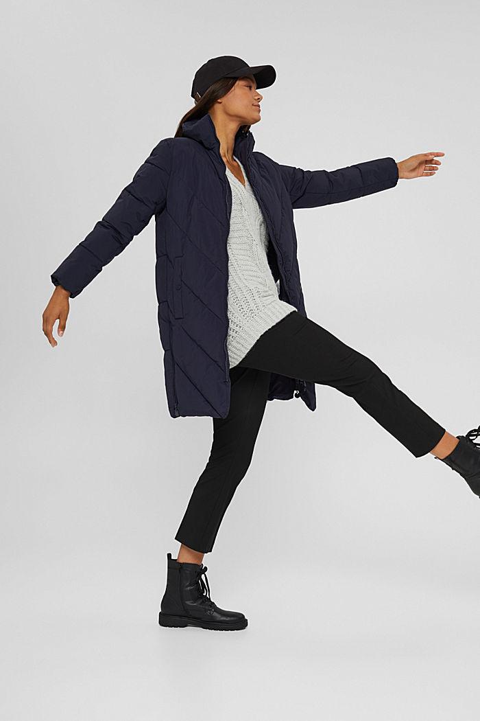 En matière recyclée: le manteau matelassé zippé à la base, NAVY, detail image number 1