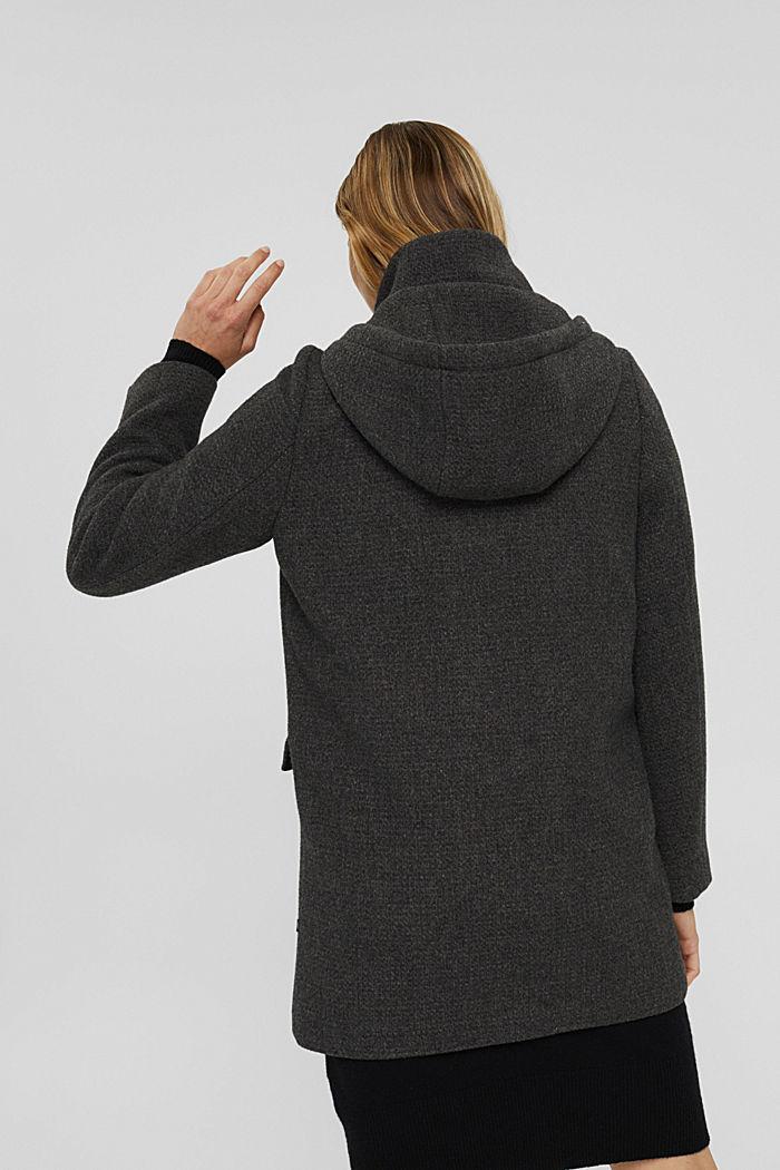 Aus recyceltem Woll-Mix: Mantel mit Waffelstruktur, ANTHRACITE, detail image number 3