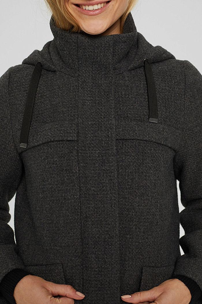 Aus recyceltem Woll-Mix: Mantel mit Waffelstruktur, ANTHRACITE, detail image number 2