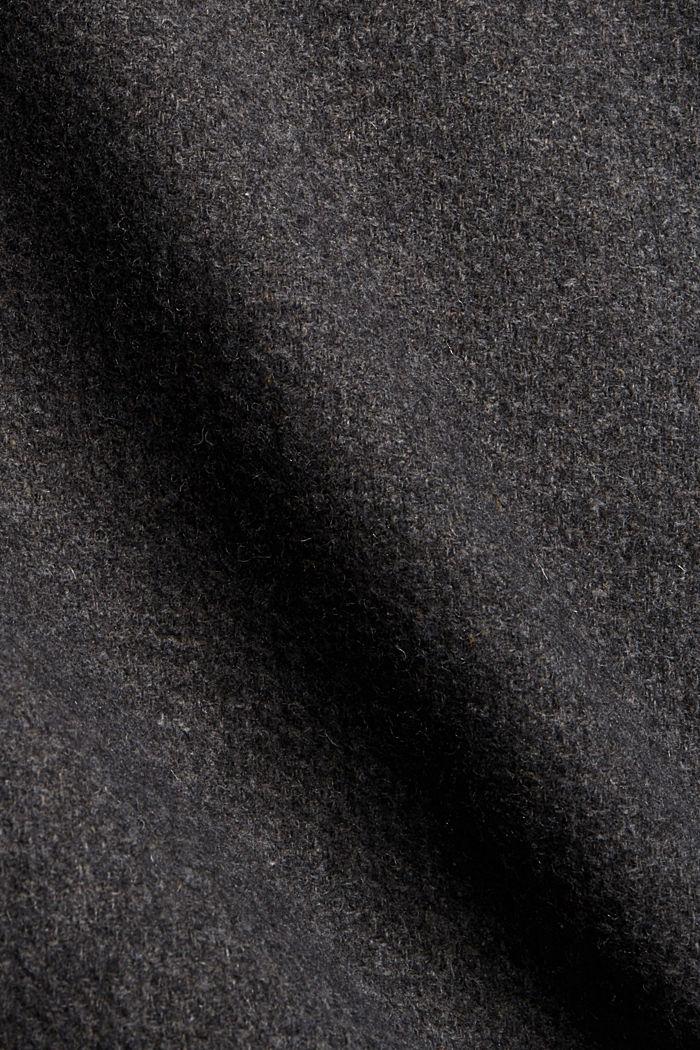 Aus recyceltem Woll-Mix: Mantel mit Waffelstruktur, ANTHRACITE, detail image number 4