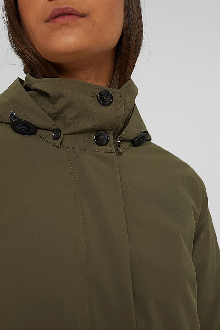 2-in-1 rain coat with a detachable jacket, DARK KHAKI, detail image number 2