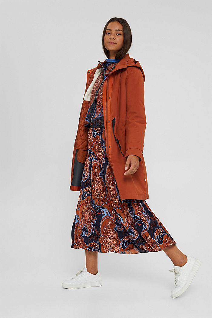 Manteau de pluie 2 en 1 à veste amovible, RUST ORANGE, detail image number 1