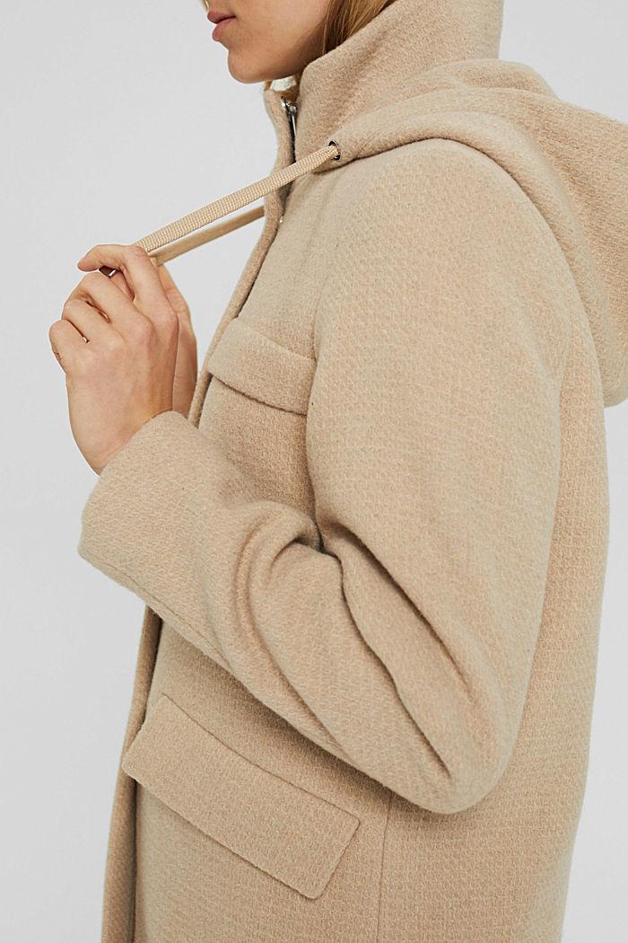 Aus recyceltem Woll-Mix: Mantel mit Waffelstruktur, BEIGE, detail image number 2