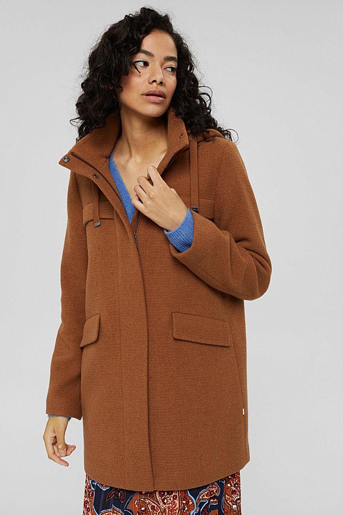 Made of blended wool: hooded coat, BARK, detail image number 0