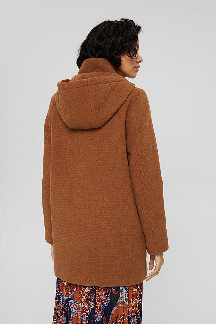 Made of blended wool: hooded coat, BARK, detail image number 3
