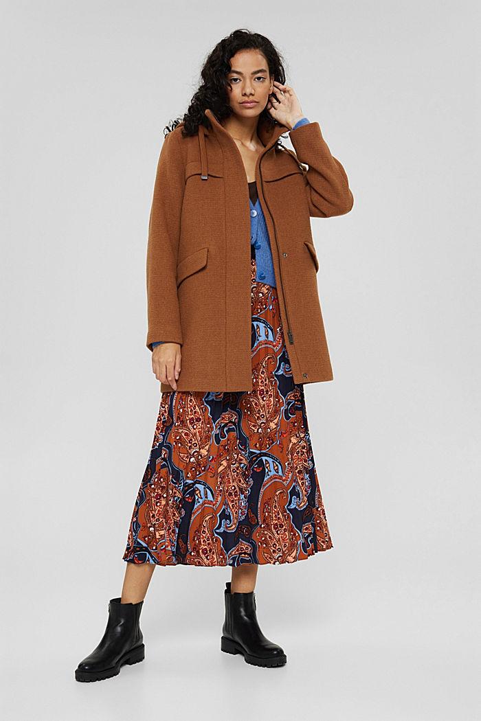Made of blended wool: hooded coat, BARK, detail image number 1