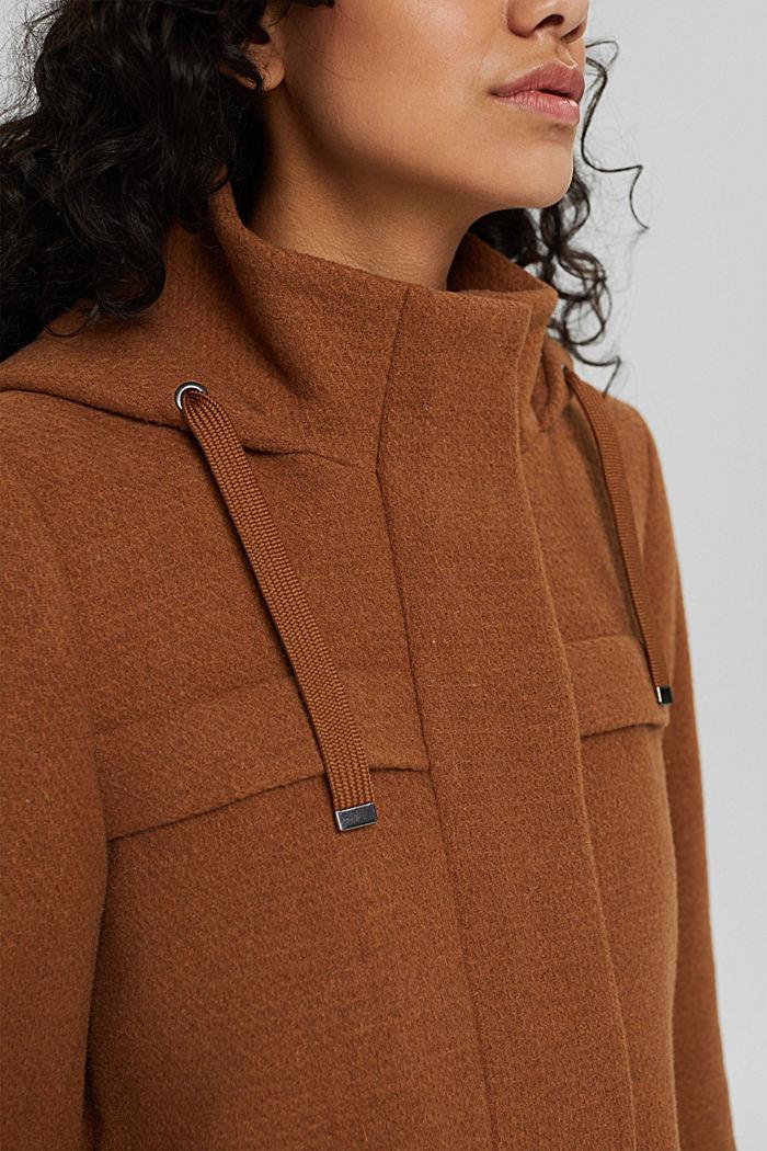 Made of blended wool: hooded coat, BARK, detail image number 2