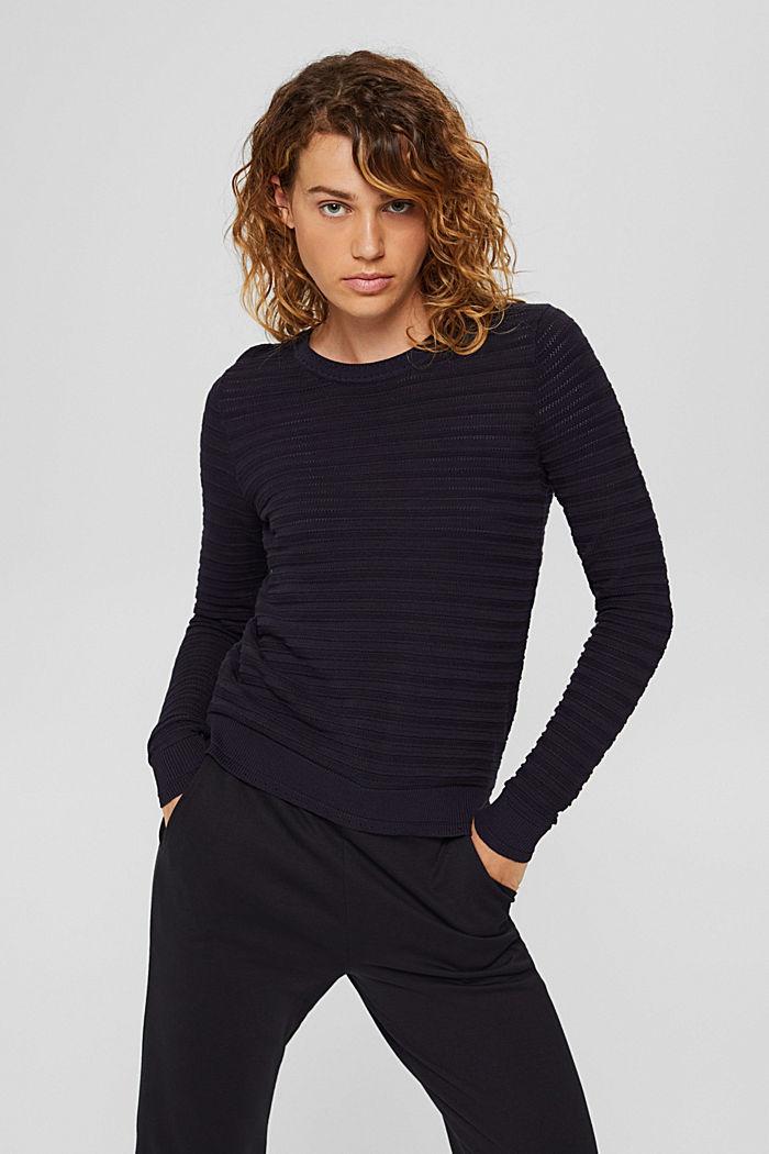 Textured stripe jumper, organic cotton, NAVY, detail image number 0
