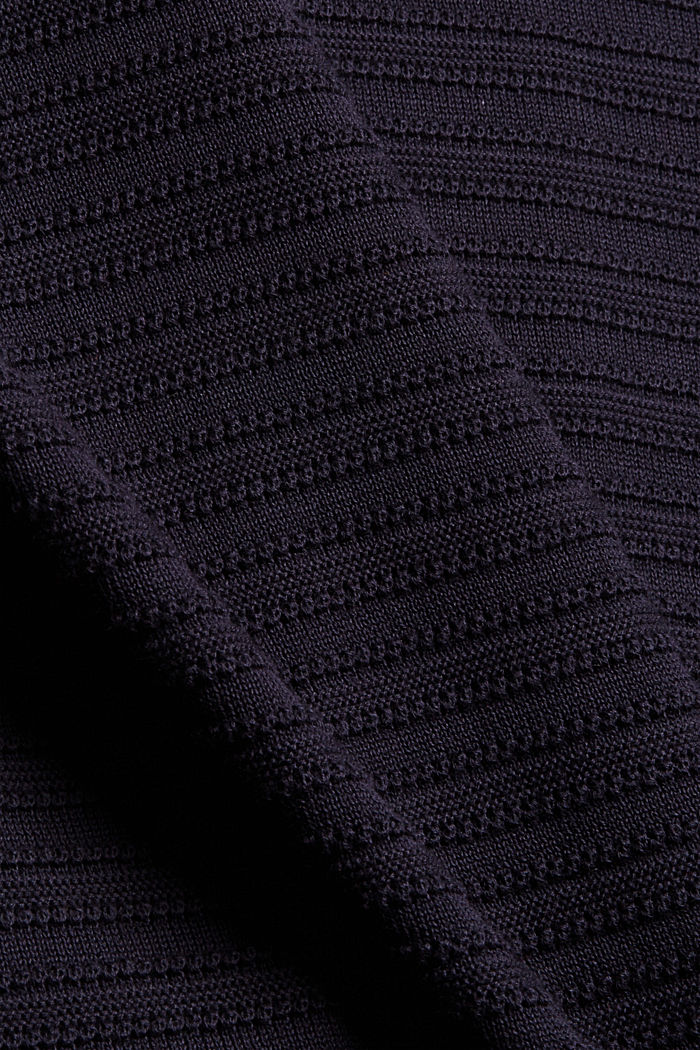 Textured stripe jumper, organic cotton, NAVY, detail image number 4