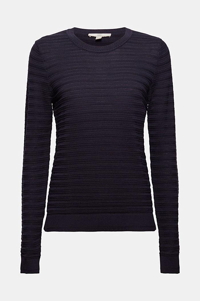 Textured stripe jumper, organic cotton, NAVY, detail image number 5