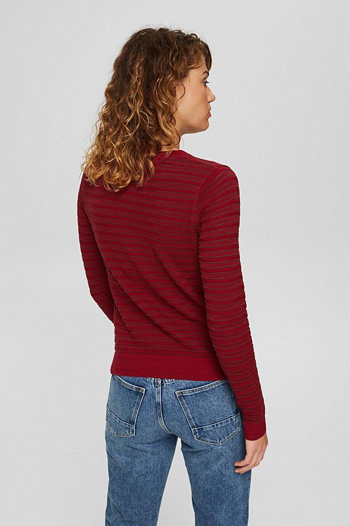 Pullover mit Streifen-Struktur, Bio-Baumwolle, DARK RED, detail image number 3