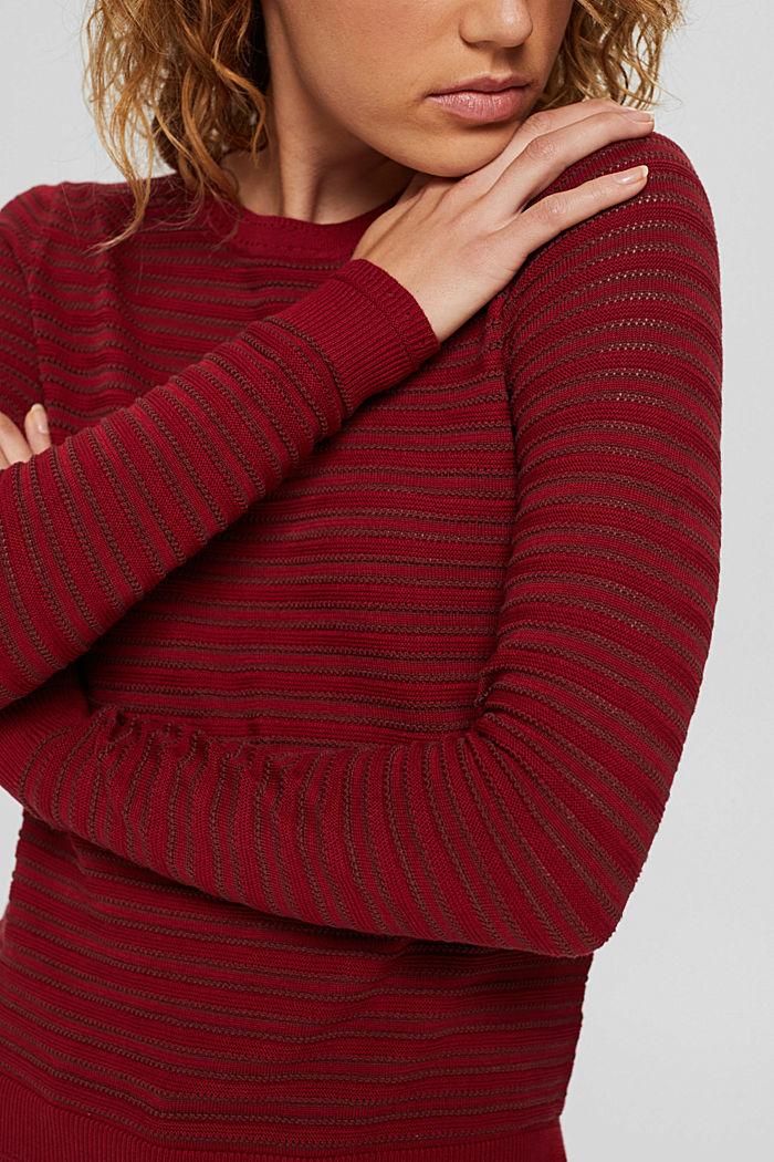 Pullover mit Streifen-Struktur, Bio-Baumwolle, DARK RED, detail image number 2