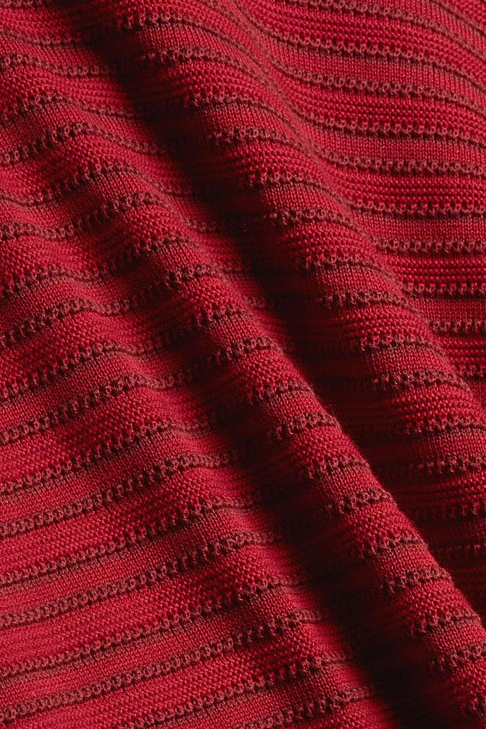 Pullover mit Streifen-Struktur, Bio-Baumwolle, DARK RED, detail image number 4