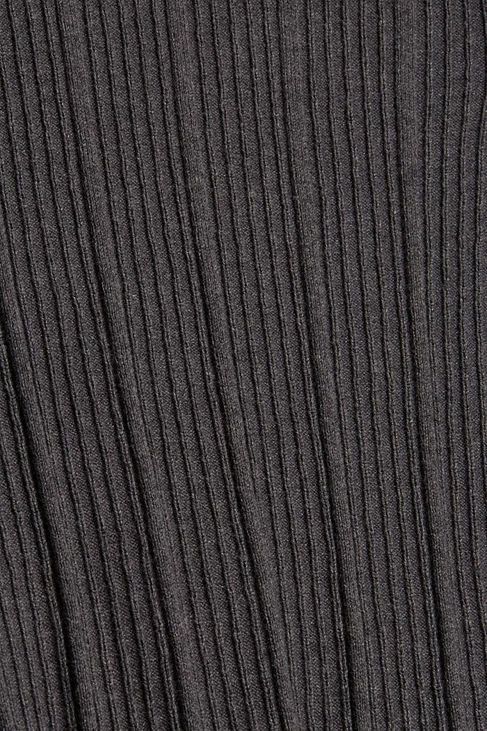 Geribde coltrui, 100% katoen, ANTHRACITE, detail image number 4