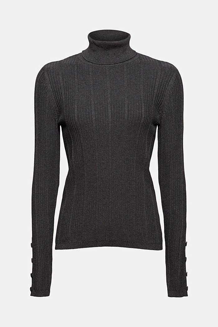 Gerippter Rollkragen-Pullover, 100% Baumwolle