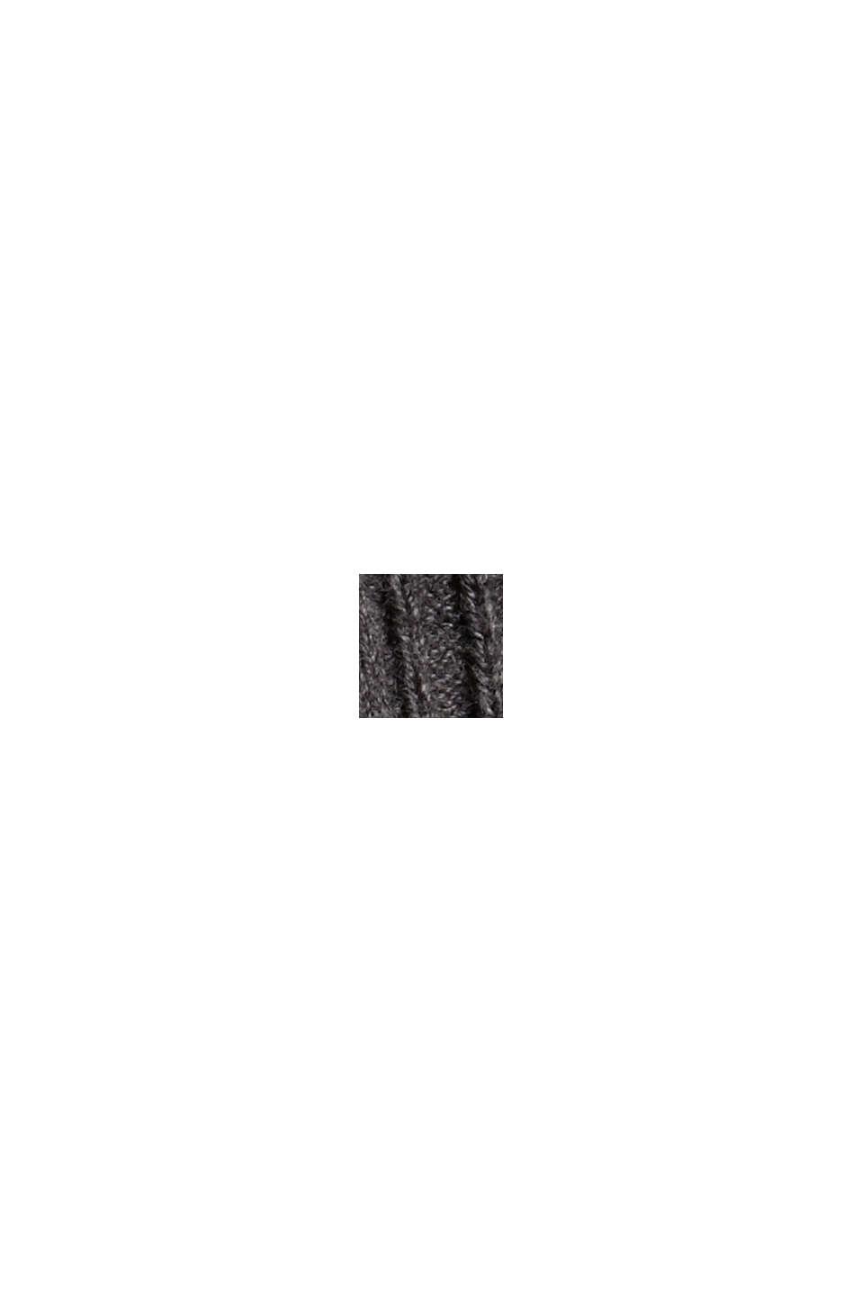 Gerippter Rollkragen-Pullover, 100% Baumwolle, ANTHRACITE, swatch