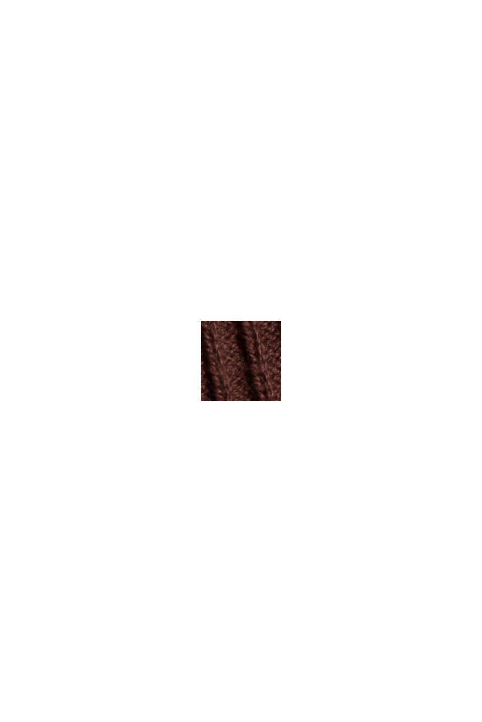 Gerippter Rollkragen-Pullover, 100% Baumwolle, BROWN, swatch