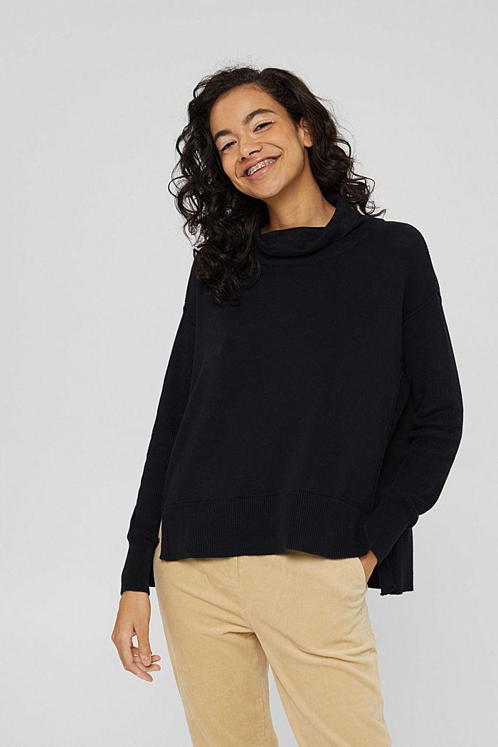 Boxy Rollkragen-Pullover aus 100% Bio-Baumwolle, BLACK, detail image number 0