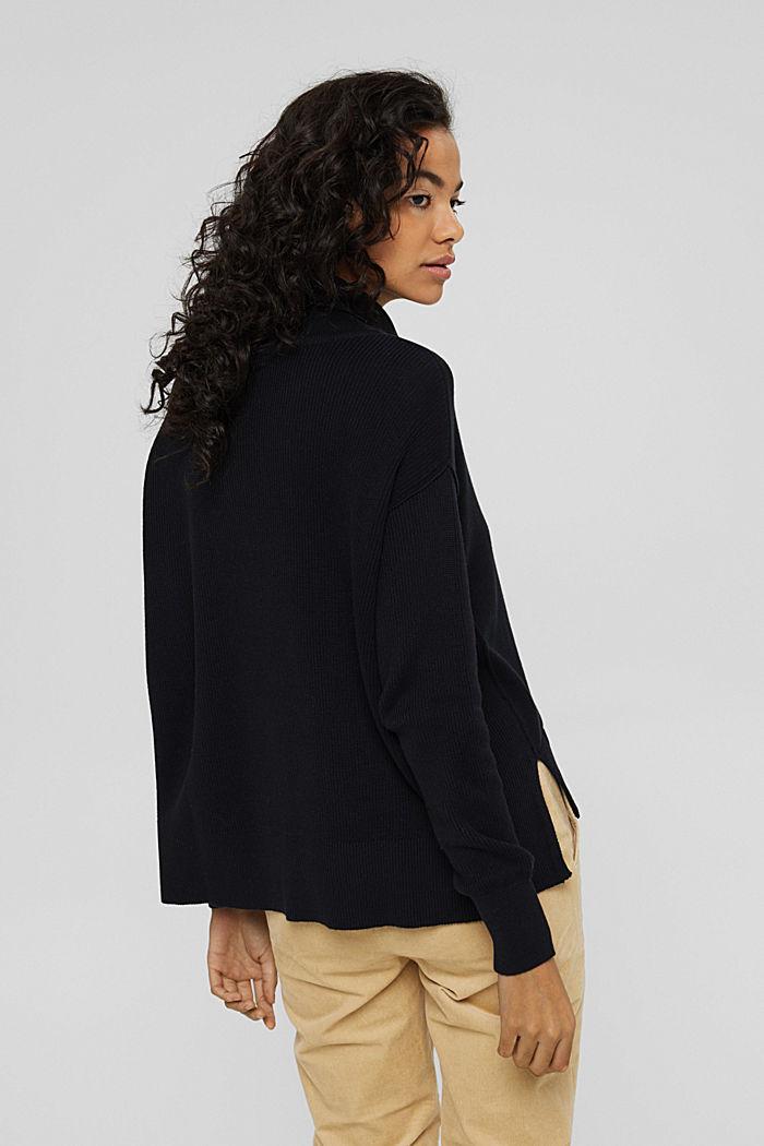 Boxy Rollkragen-Pullover aus 100% Bio-Baumwolle, BLACK, detail image number 3