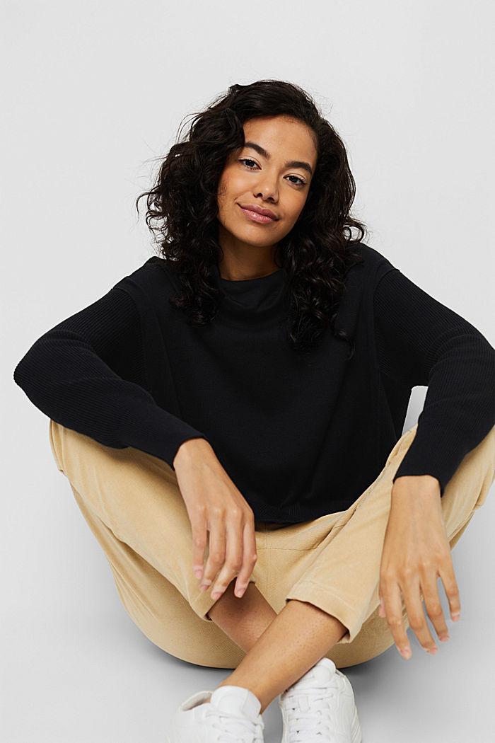 Boxy Rollkragen-Pullover aus 100% Bio-Baumwolle, BLACK, detail image number 5