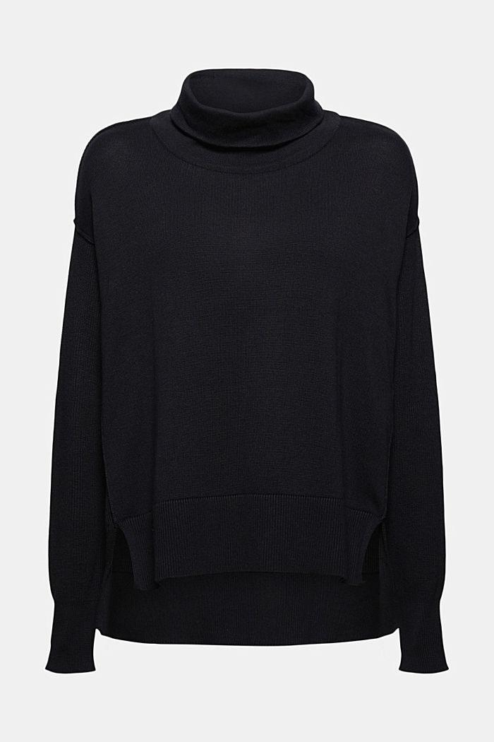 Boxy Rollkragen-Pullover aus 100% Bio-Baumwolle, BLACK, detail image number 6