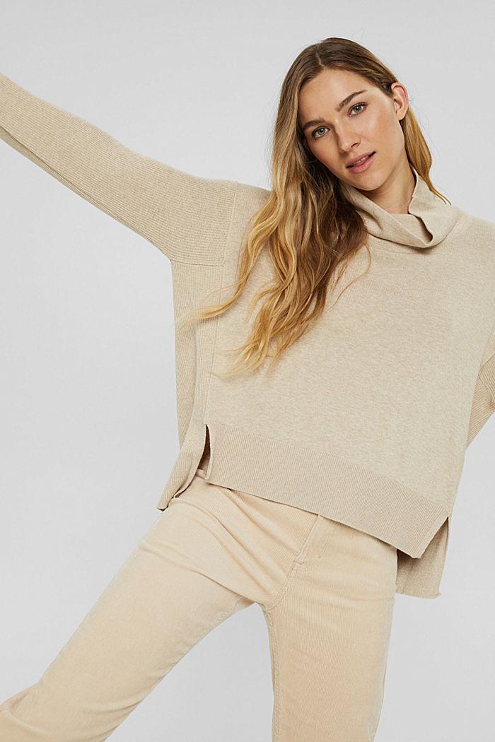 Boxy Rollkragen-Pullover aus 100% Bio-Baumwolle, BEIGE, detail image number 0