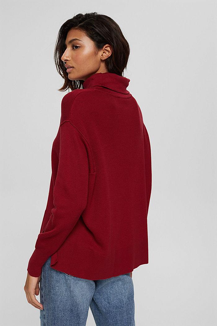 Boxy Rollkragen-Pullover aus 100% Bio-Baumwolle, DARK RED, detail image number 3