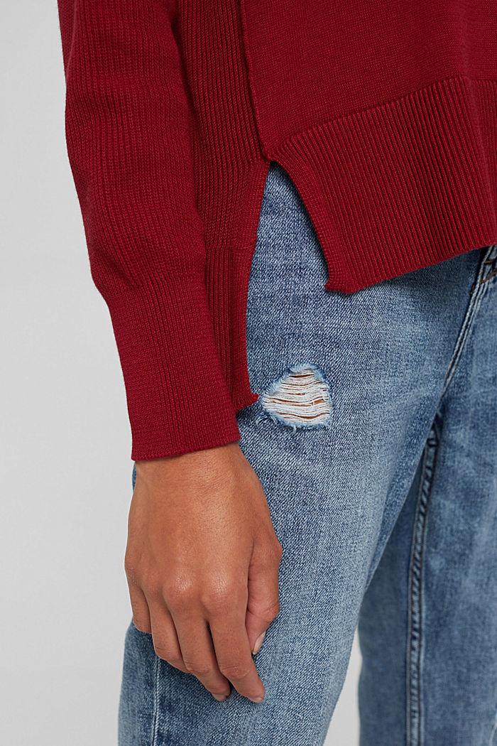 Boxy Rollkragen-Pullover aus 100% Bio-Baumwolle, DARK RED, detail image number 2
