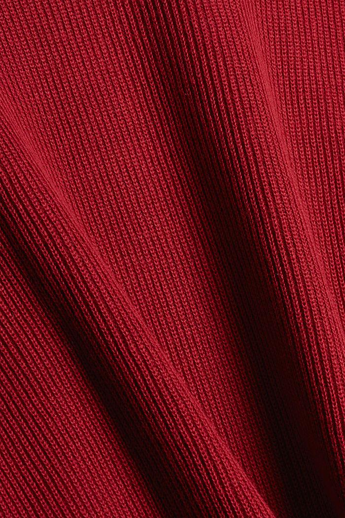 Boxy Rollkragen-Pullover aus 100% Bio-Baumwolle, DARK RED, detail image number 4