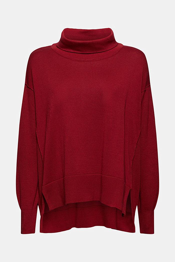 Pudełkowy dzianinowy sweter z golfem ze 100% bawełny ekologicznej