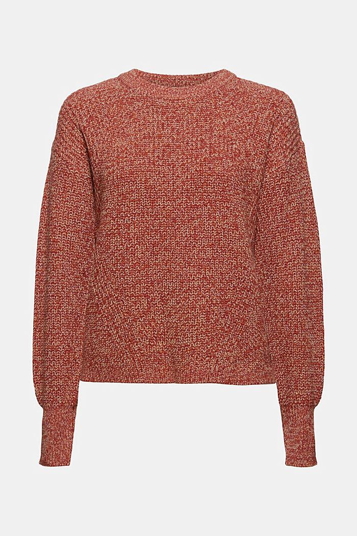 Mouline-Pullover aus Bio-Baumwoll-Mix, DARK RED, detail image number 6