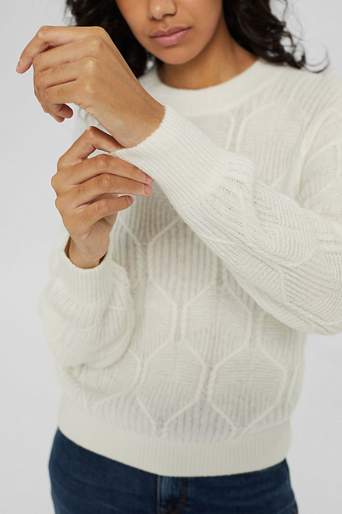 Mit Wolle/Alpaka: Pullover mit Musterstrick, OFF WHITE, detail image number 2