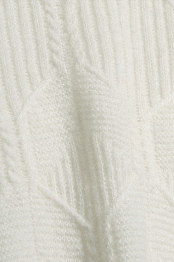 Mit Wolle/Alpaka: Pullover mit Musterstrick, OFF WHITE, detail image number 4