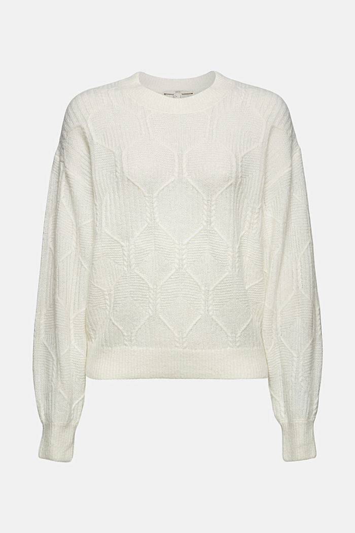 Con lana y alpaca: jersey con diseño de punto