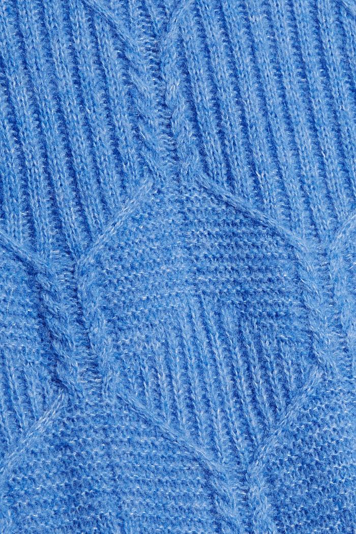 Met wol/alpaca: trui met ingebreid patroon, BRIGHT BLUE, detail image number 4