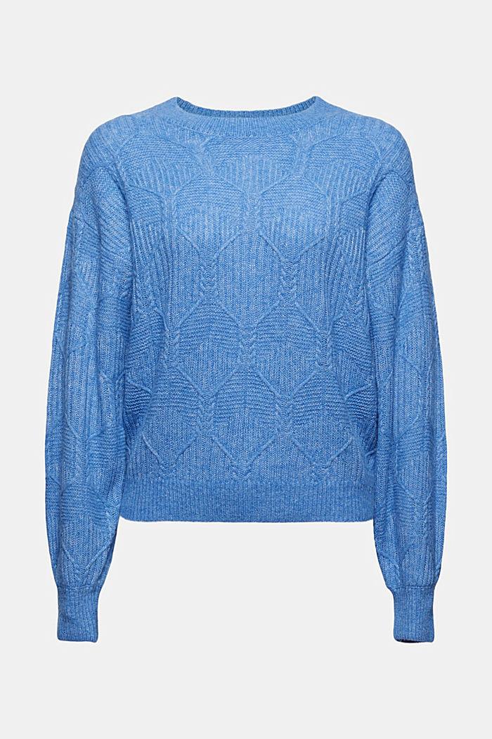Met wol/alpaca: trui met ingebreid patroon, BRIGHT BLUE, detail image number 5