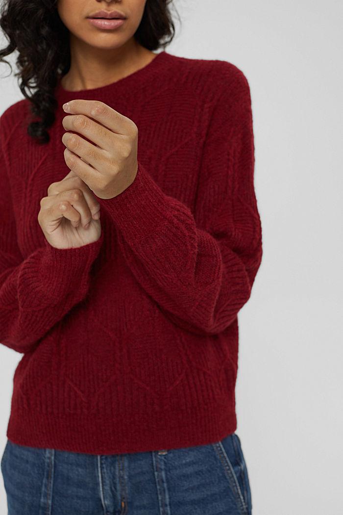 Met wol/alpaca: trui met ingebreid patroon, DARK RED, detail image number 2