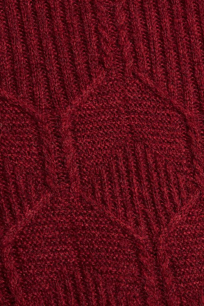 Met wol/alpaca: trui met ingebreid patroon, DARK RED, detail image number 4