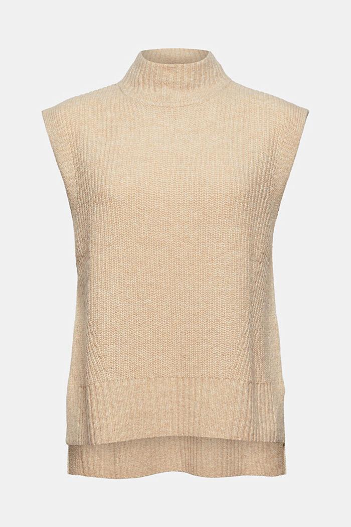 À teneur en laine/alpaga: débardeur à col droit