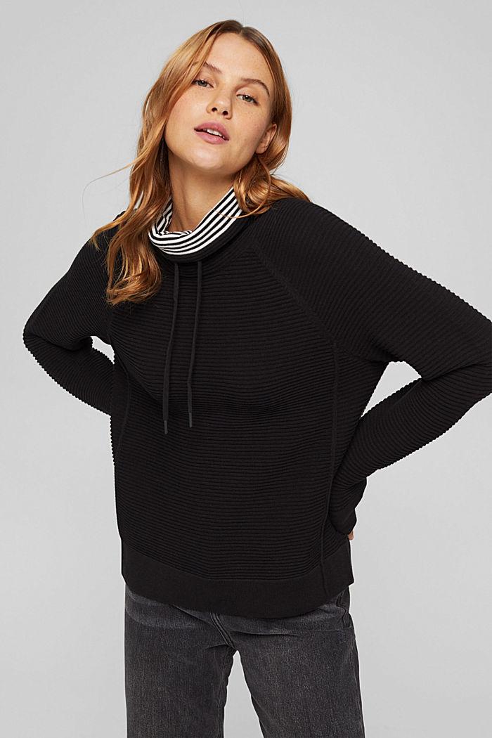 Ripp-Pullover mit Kordelzug-Kragen, Baumwolle, BLACK, detail image number 0