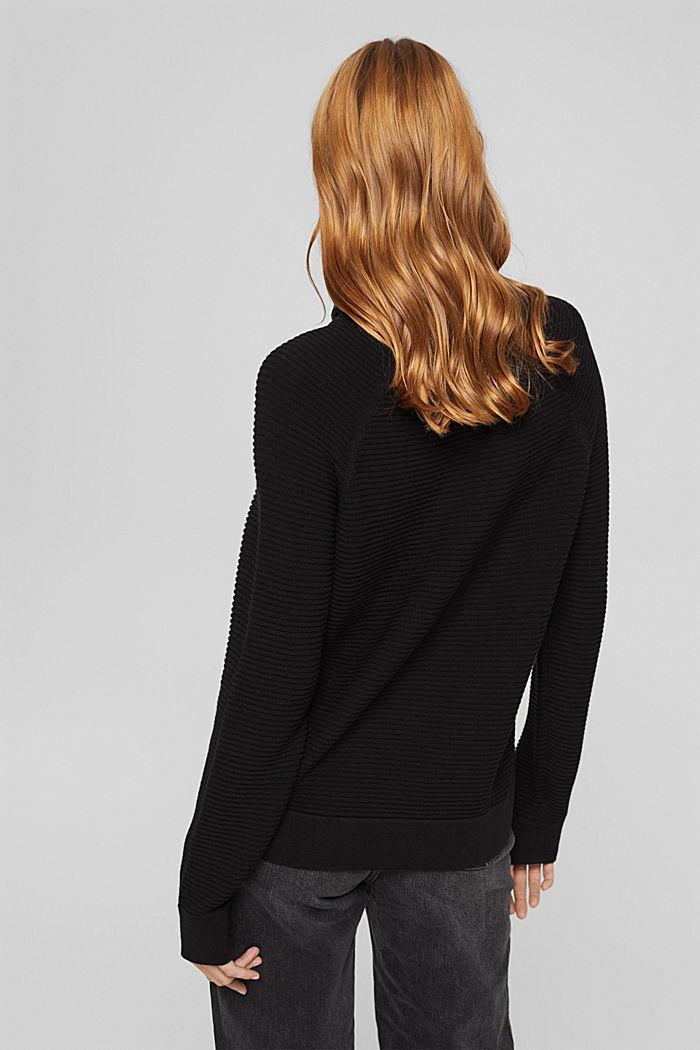 Ripp-Pullover mit Kordelzug-Kragen, Baumwolle, BLACK, detail image number 3