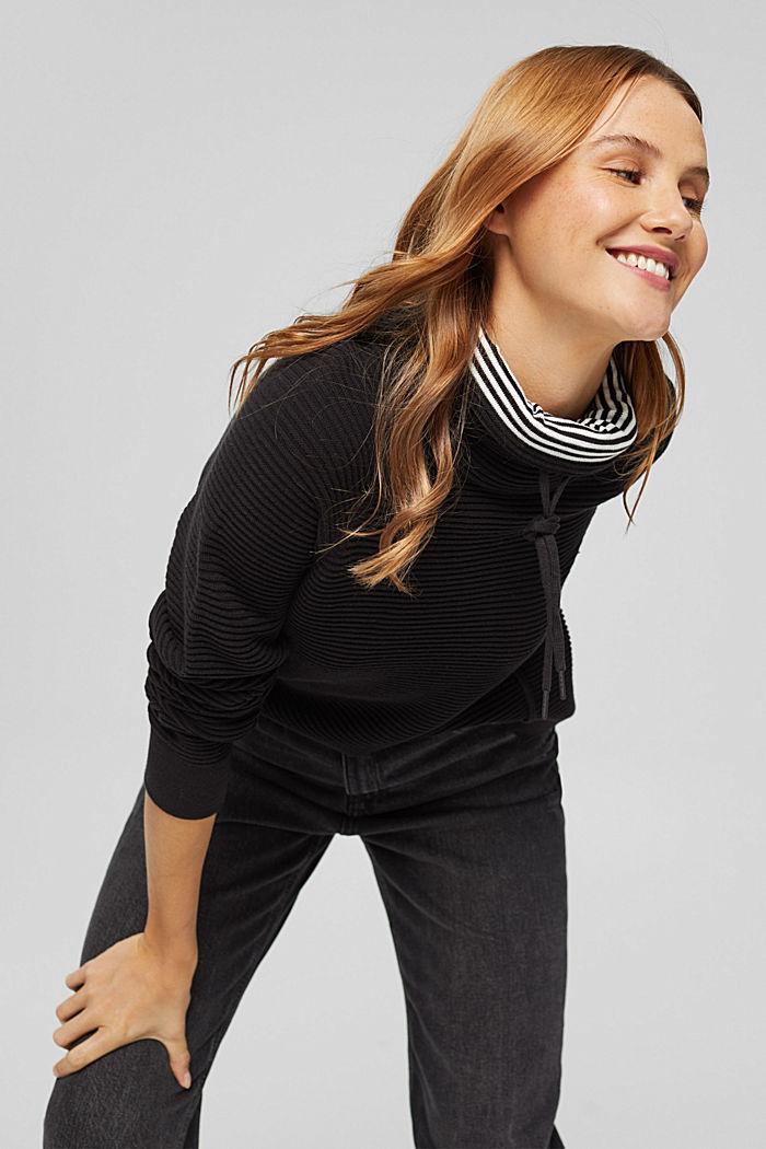 Ripp-Pullover mit Kordelzug-Kragen, Baumwolle, BLACK, detail image number 5