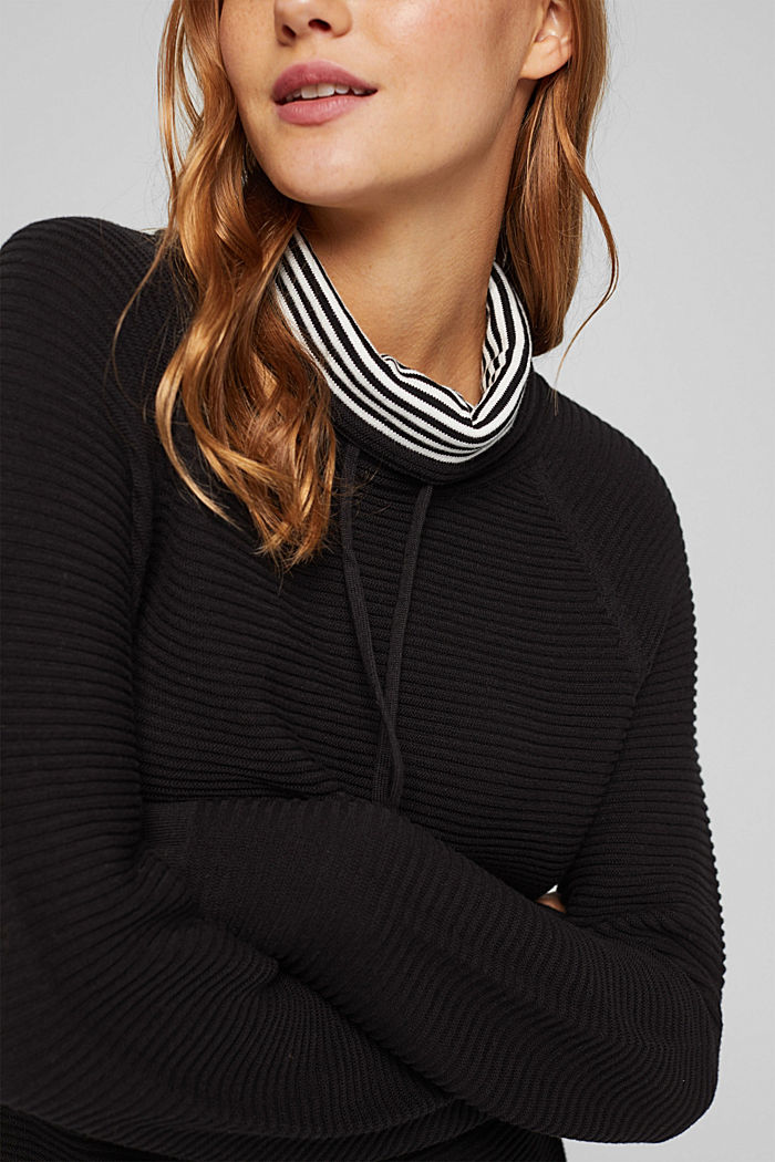 Ripp-Pullover mit Kordelzug-Kragen, Baumwolle, BLACK, detail image number 2