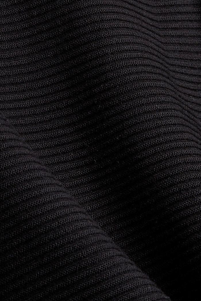 Ripp-Pullover mit Kordelzug-Kragen, Baumwolle, BLACK, detail image number 4